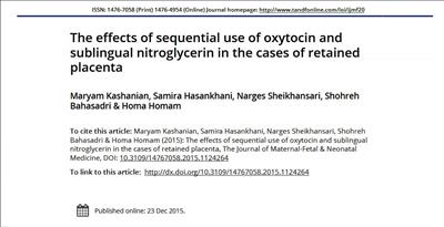 The effects of sequential use of oxytocin and sublingual nitroglycerin in the cases of retained placenta