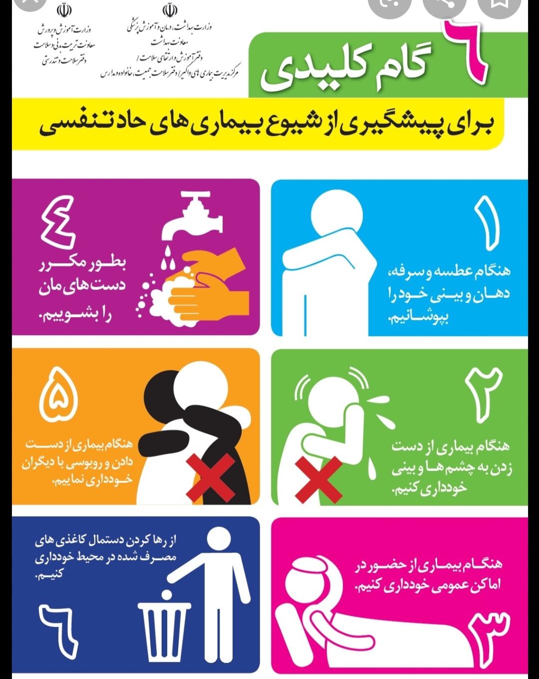 توصیه های بهداشتی درخصوص پیشگیری ازآنفلوانزا وبیماریهای تنفسی